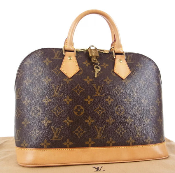 Authentic Used Louis Vuitton Alma PM Handbag in Monogram with Dustcover and Lock/Key