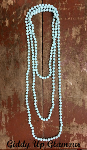 80 Inch Long Strand Crystal Necklace in Aqua