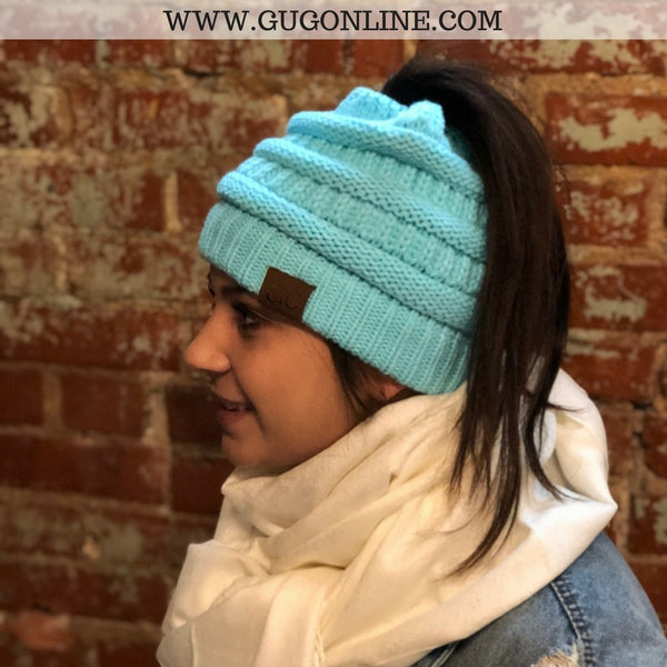 Ponytail CC Beanie in Aqua – Giddy Up Glamour Boutique f2a41e80b435