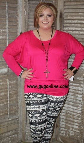 A Spot To Snuggle Hot Pink Slouchy Top