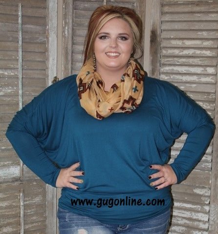A Spot To Snuggle Dark Teal Slouchy Top