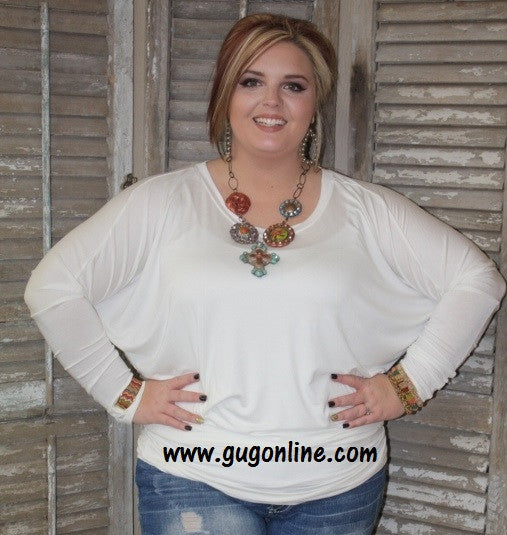 A Spot To Snuggle Ivory Slouchy Top