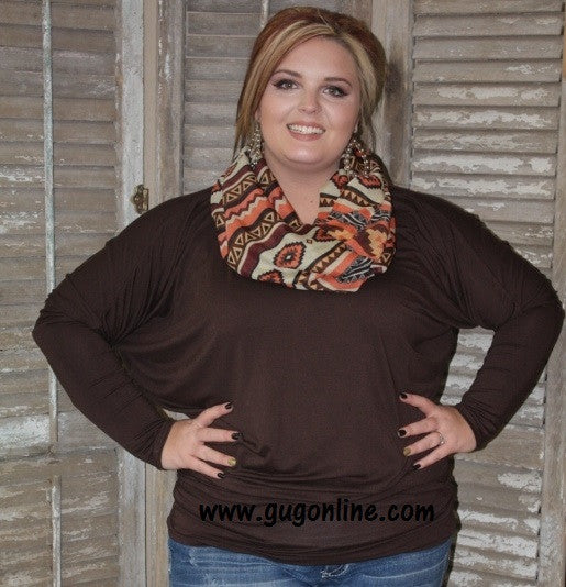 A Spot To Snuggle Brown Slouchy Top- 3XL