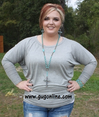 A Spot To Snuggle Heather Grey Slouchy Top
