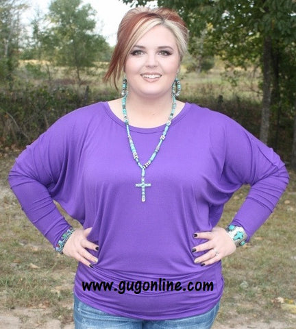 A Spot To Snuggle Purple Slouchy Top