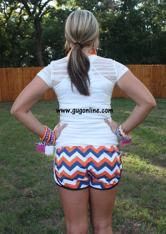 Ready For Anything Athletic Shorts in Orange, Blue and White Chevron