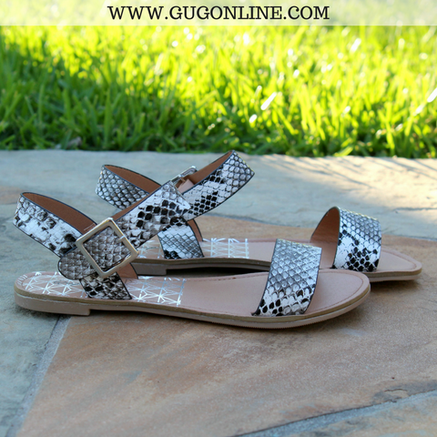 Athena Black and White Snakeskin Sandals