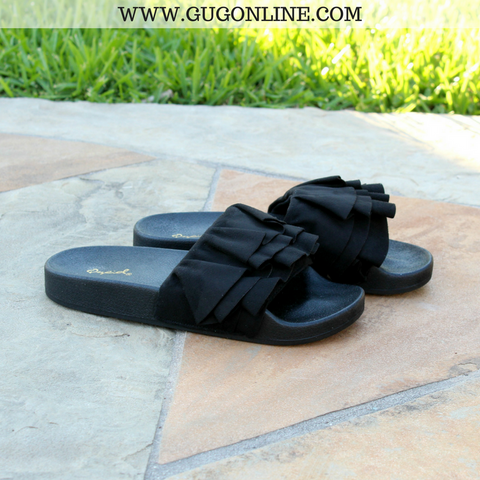 Casual Stroll Suede Ruffle Sandals in Black