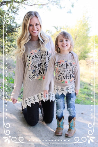 Kids Fearfully & Wonderfully Made Tan Doman with Crochet Trim
