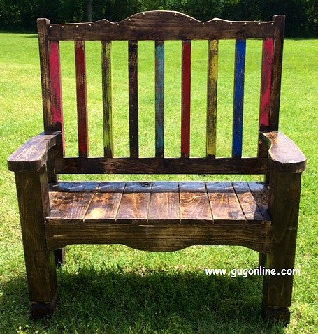 Handmade Rustic Zarape Bench with Colorful Back
