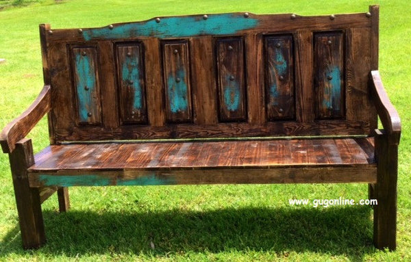 Handmade Rustic Juarez Bench With Distressed Back  Giddy Up Glamour Boutique-1253