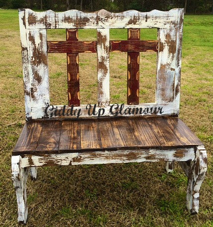 Handmade Rustic Two Cross Bench in Maroon and White