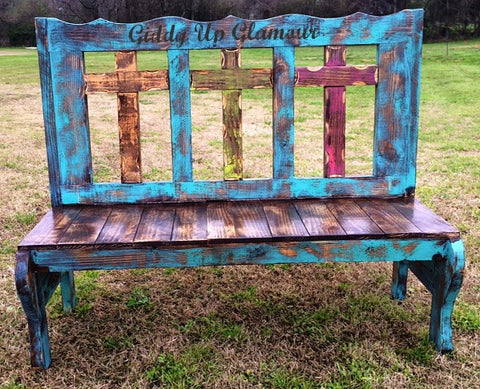 Rustic Handmade Three Cross Bench in Turquoise and Brown Stain