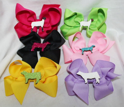 Hair Bow with Livestock Animals