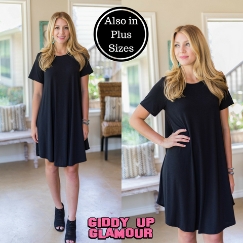 Simplicity is Key Short Sleeve Tee Shirt Dress in Black