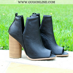 Blondi Peep Toe Booties in Black