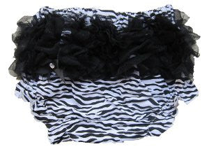 Adorable Zebra Baby Bloomers with Black Ruffle