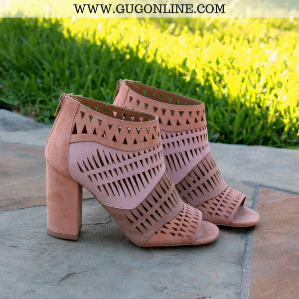 Suede This Way Laser Cut Heels in Blush