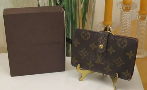Authentic Used Louis Vuitton Portefeuille Viennois Wallet in Monogram with Box