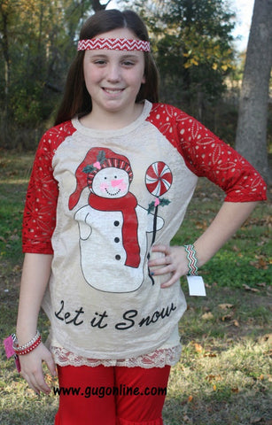 Children's Let It Snow Antique Look Burnout Tee with Crochet Sleeves