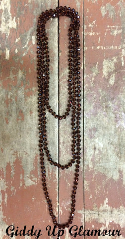 80 Inch Long Strand Crystal Necklace in Brown