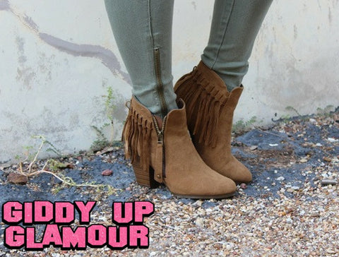 Fringe Ankle Zipper Bootie in Tan