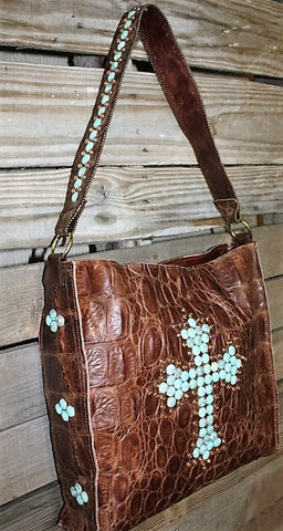 KurtMen Box Tote in Brown Super Gator and Distressed Turquoise Cross