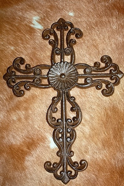Cast Metal Wall Scrolled Cross