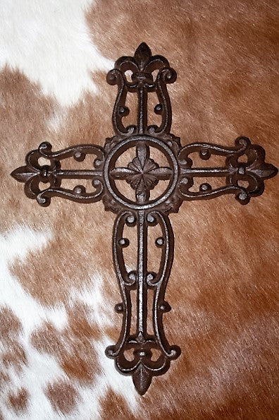 Cast Metal Wall Cross with Center Cross and Fleur Tips