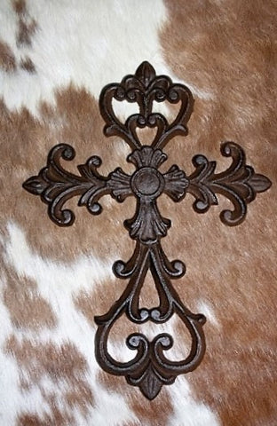 Cast Metal Wall Cross with Center Cross and Scrolls