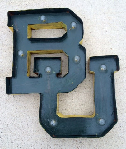 Lighted Rustic BU Handmade Sign in Green and Yellow Gold