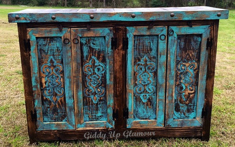 Handmade Rustic Carved Scroll Door Buffet in Turquoise and Dark Stain