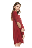 Deep Connection Scalloped Dress in Maroon