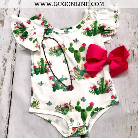 Children's Cactus Printed Onesie with Ruffle Sleeves