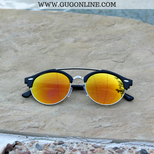 The Spencer Round Aviator Sunglasses in Orange
