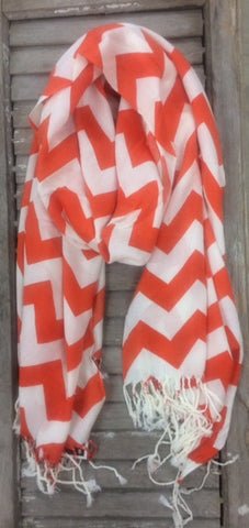 Orange Chevron Pashmina Scarf