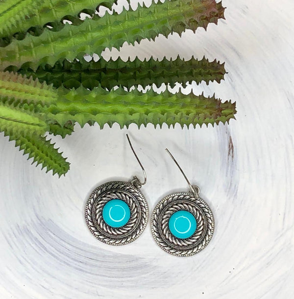 Turquoise on Silver Tone Earrings Dangle Style