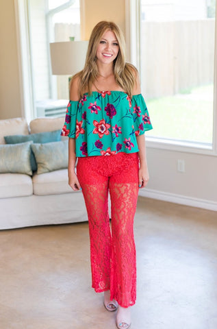 Lace Play A Game Dark Coral Lace Pants