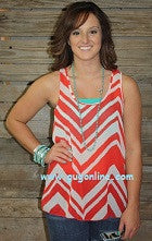 Better With Bows Coral and White Chevron Top