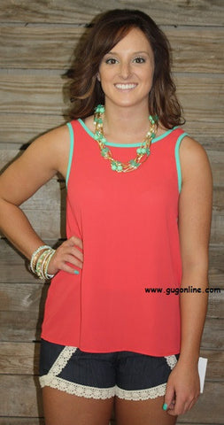 Bow Me A Kiss Coral and Teal Tank