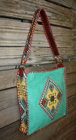 KurtMen Box Tote in Turquoise Crackle with Tomato Red Whipstitch and Santa Fe Embossed Aztec