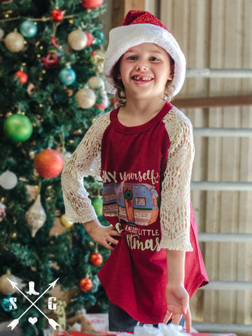 Kids Have Yourself a Merry Little Christmas Dark Red Baseball Tee with Cream Lace Sleeves