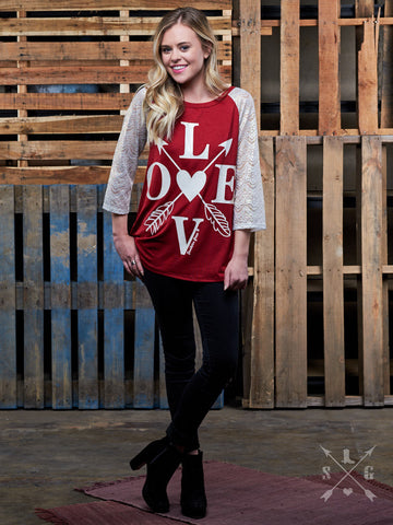 Adults: LOVE Baseball Tee with Glitter Lace Sleeves