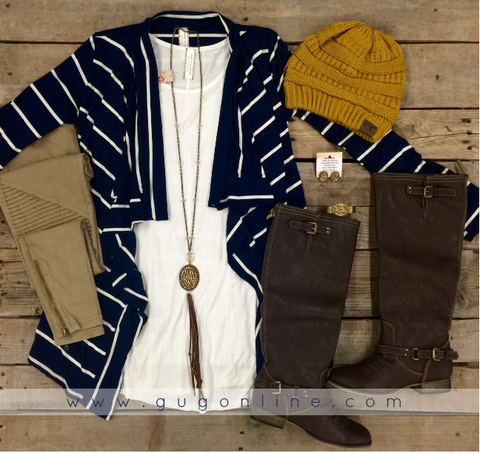 Basically Perfect Stripe Cardigan with Elbow Patches in Navy