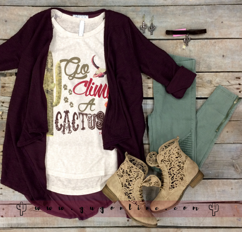 Go Climb a Cactus Baseball Tee with Lace Sleeves