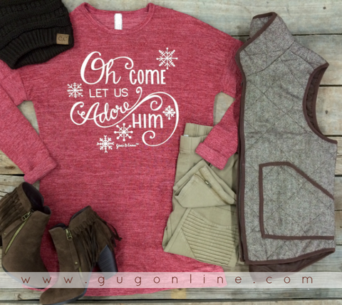 Oh Come Let Us Adore Him Long Sleeve Maroon Top