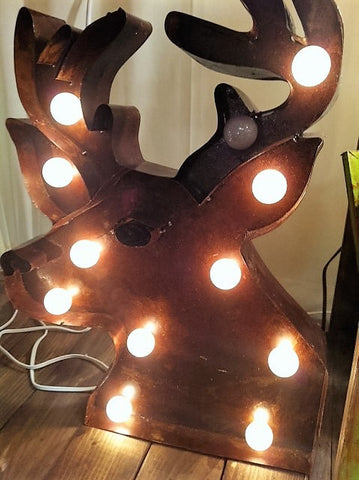 Lighted Rustic Handmade Deer Head