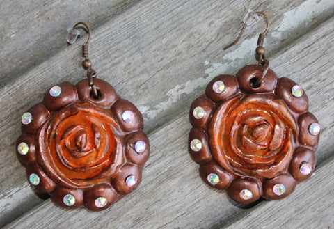 Aquilla Rose in Rust and Bronze Dangle Earrings