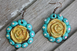 Polymer Clay Earrings Dangle Turquoise Yellow