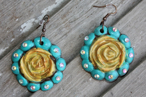 Aquilla Rose in Turquoise and Yellow Dangle Earrings